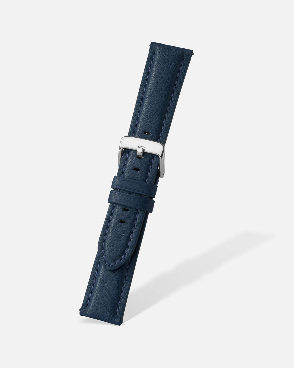 Navy Blue Bison Grain Leather Watch Band
