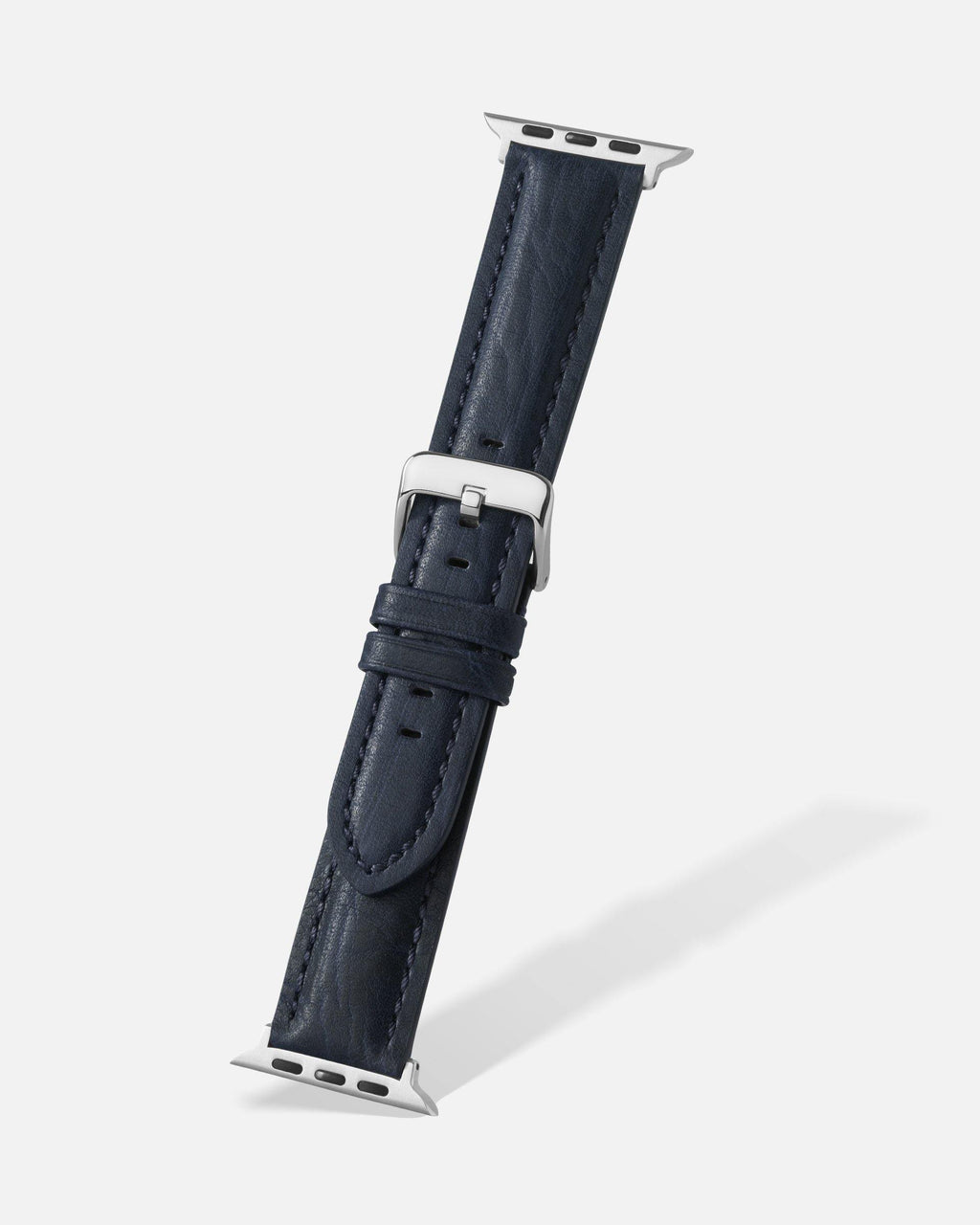 Navy Blue Bison Grain Leather Apple Watch Band