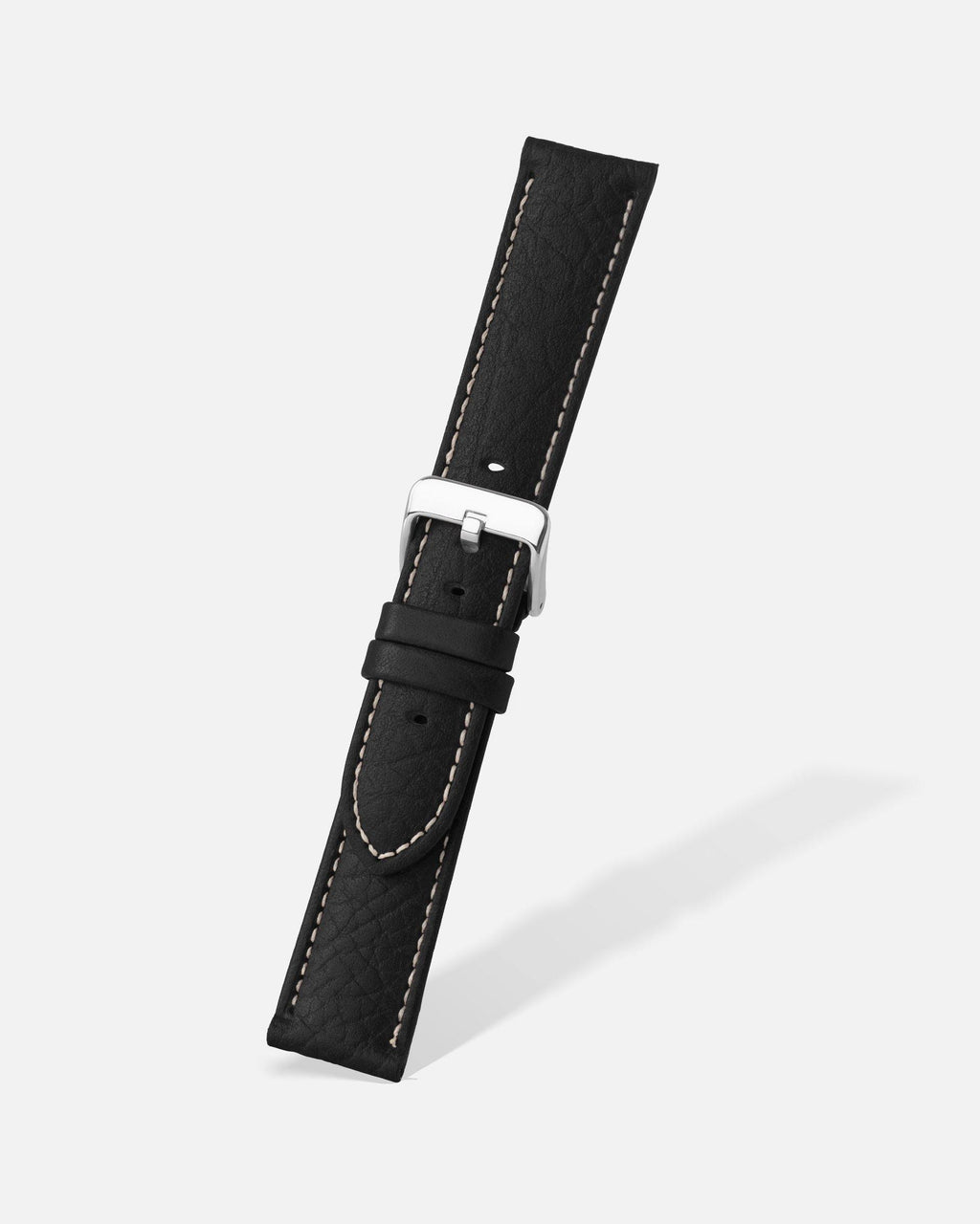 Black Shrunken Grain Leather Watch Band