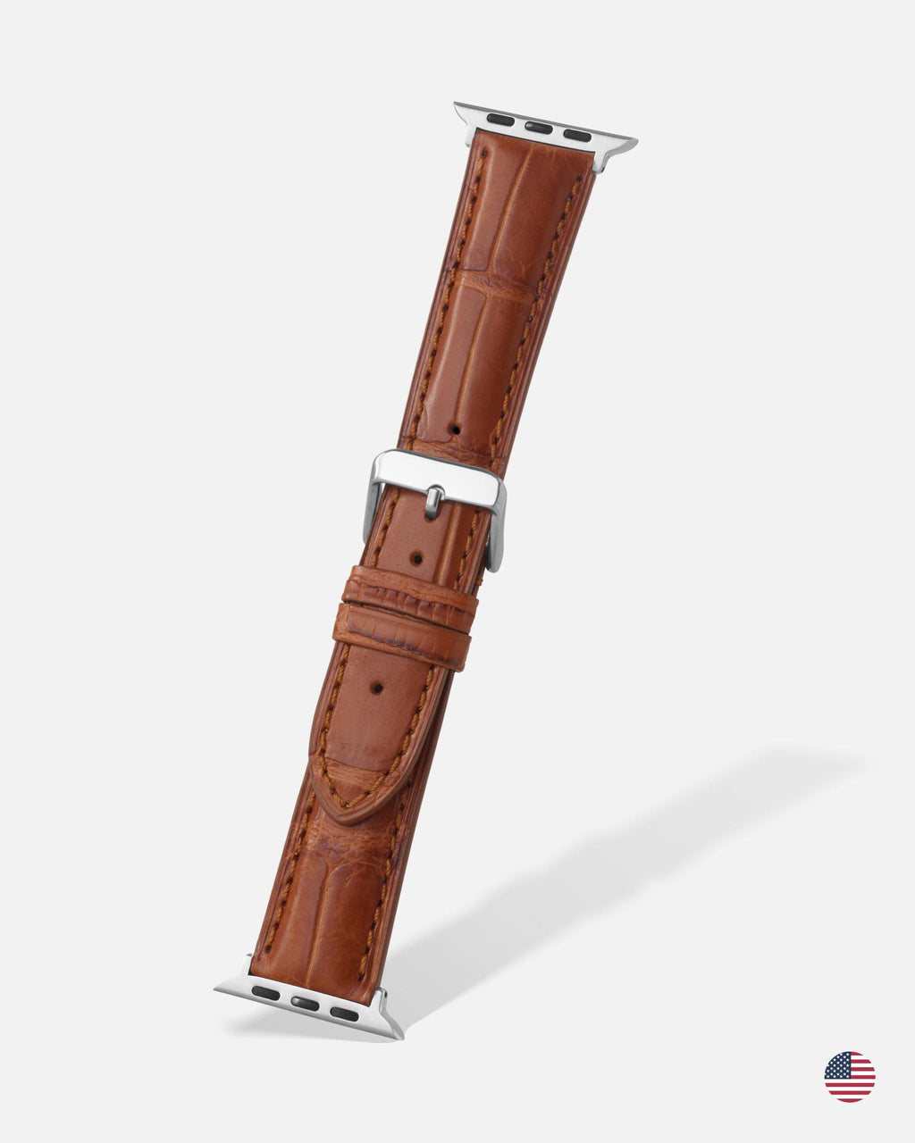 Tan Genuine Alligator Apple Watch Band