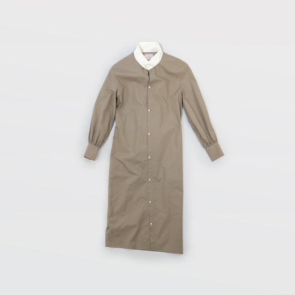 タイプライター Typewriter Stand Collar Dress - Light Khaki / White