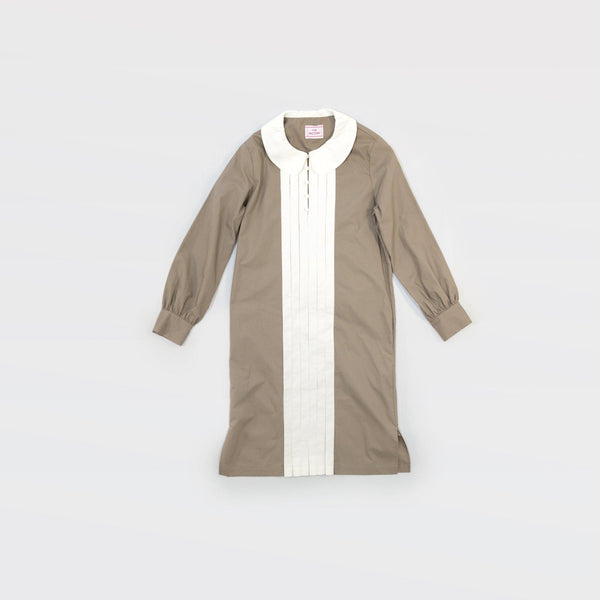 タイプライター Typewriter Round Collar Dress - Light Khaki / White