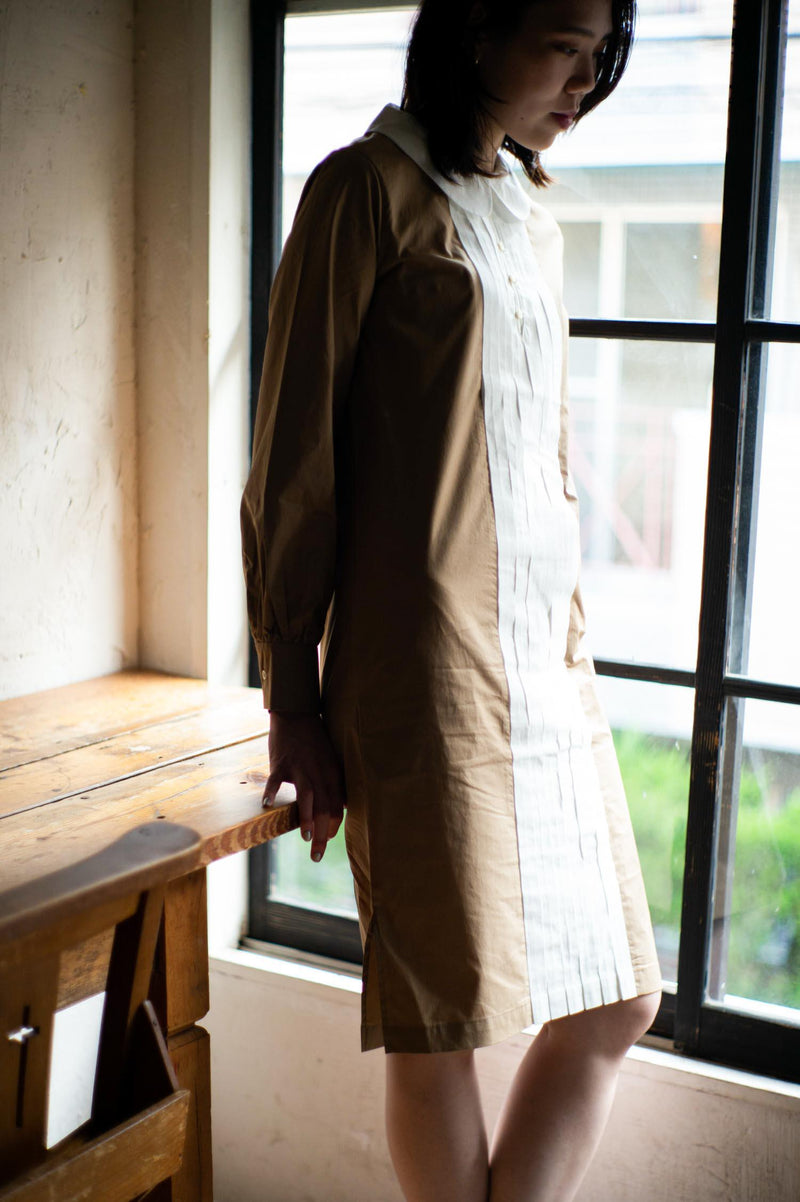 タイプライター Typewriter Round Collar Dress - Beige / White