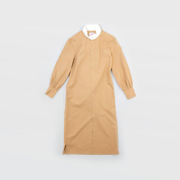 タイプライター Typewriter Stand Collar Dress - Beige / White
