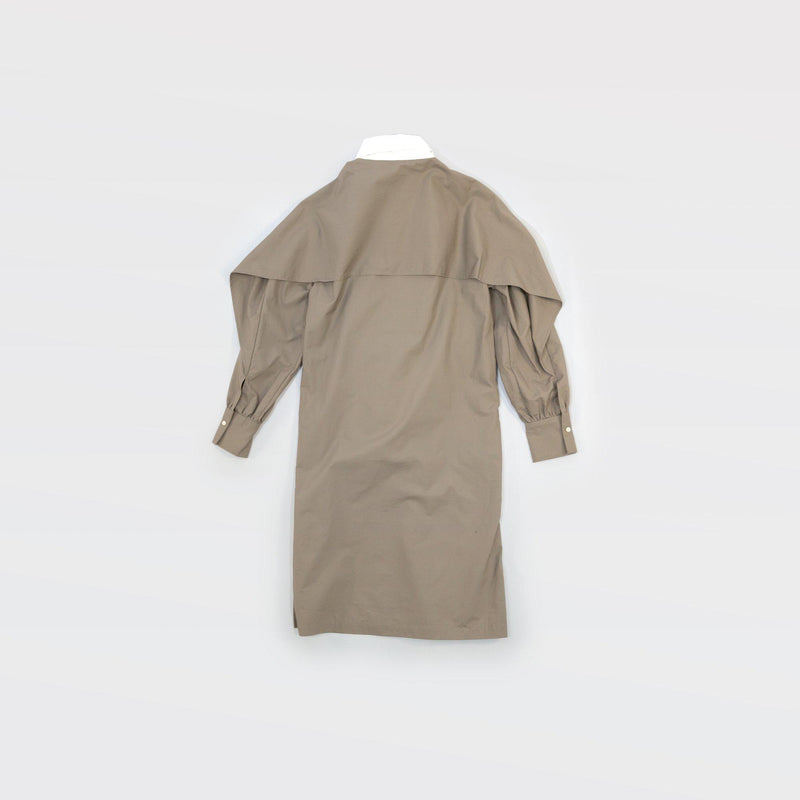 Typewriter Wing Dress - Light Khaki / White