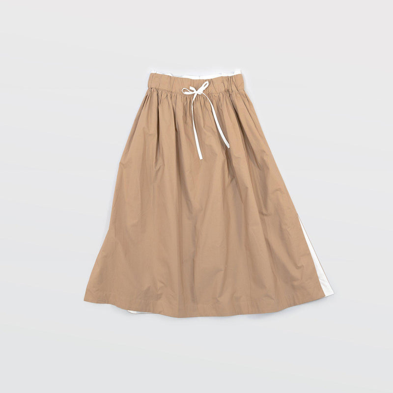 タイプライター Side Slit Skirts - Beige / White