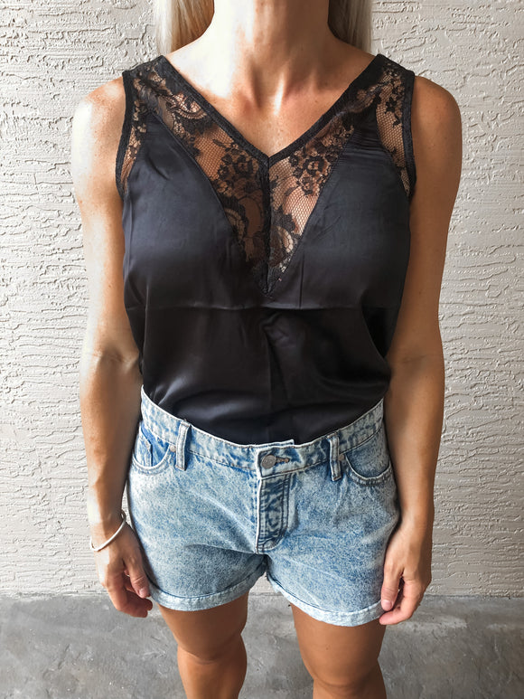 Black Silky Cami Top