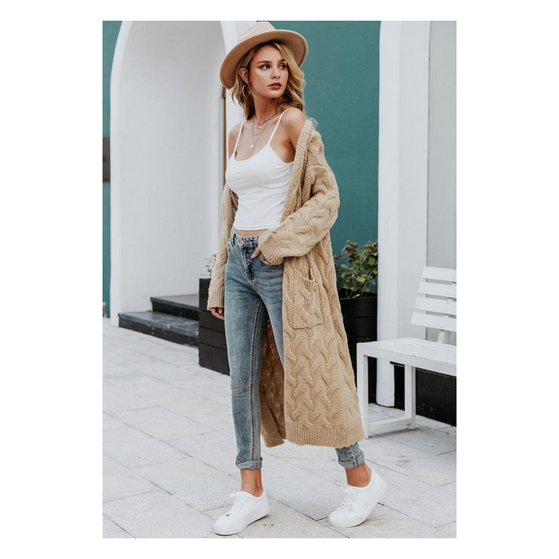 Long knitted cardigan sweater