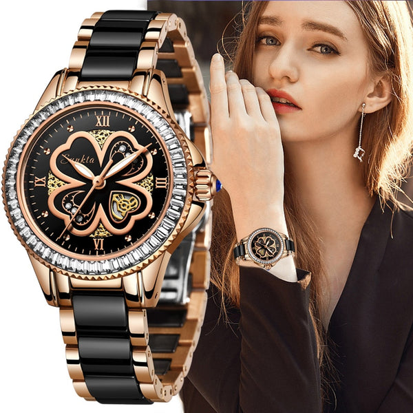 Women's wristwatches with quartz ceramic bracelet