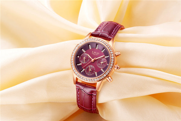 Women's watch with diamond dial in golden leather