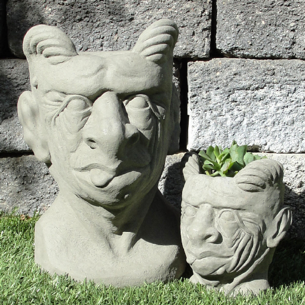 large and small gargoyle head planter