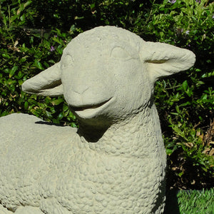 vintage large laying lamb cast stone sculpture
