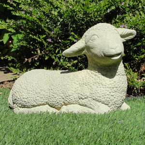 Vintage laying lamb sheep garden statue