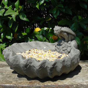 gargoyle on shell birdfeeder halloween decor