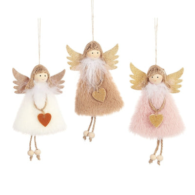 1PC New Year Hanging Doll Christmas Articles Angle Snowflakes Table Ornaments Xmas Decoration For Home Party Navidad Xmas Items