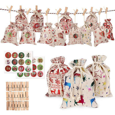 24PCS Christmas Advent Calendar Countdown Bag Hanging Candy Gift Sacks Pouch with Clips Stickers Rope Home Christmas Decoration