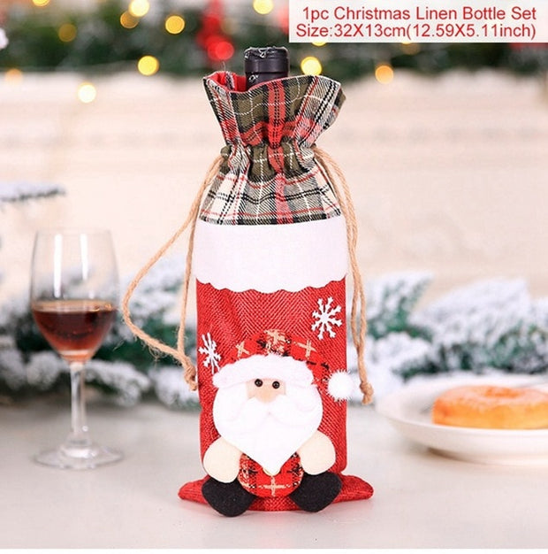 Christmas Wine Bottle Cover Merry Christmas Decor For Home 2020 Natal Noel Christmas Table Decor Xmas Gift Happy New Year 2021