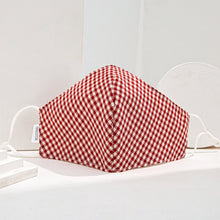 Load image into Gallery viewer, Red Gingham 3 Layered Face Mask
