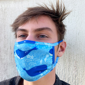3 Layered Face Mask: Singing Whales