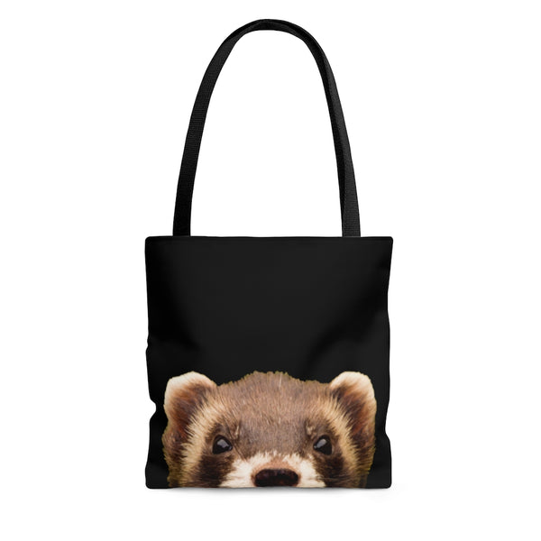 Peeking Ferret Black Tote Bag