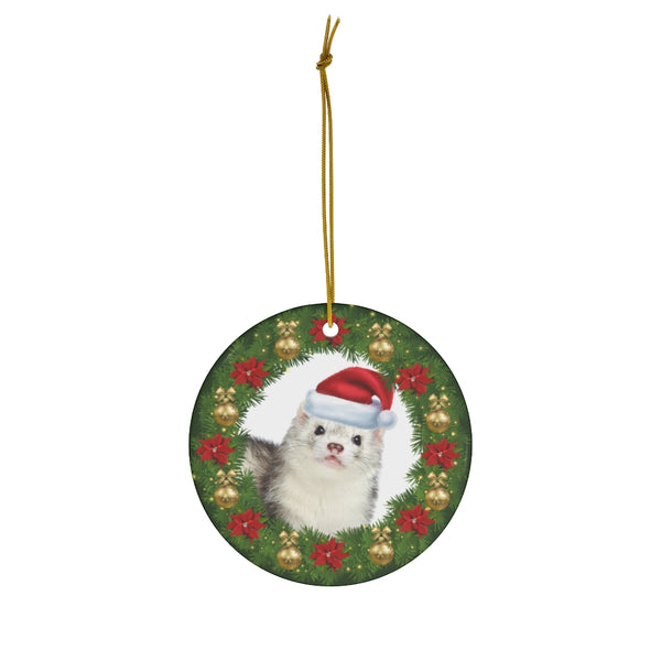 Silver Ferret in Santa Hat Christmas Ornament
