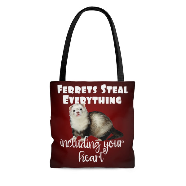 Ferrets Steal Everything Red Tote Bag