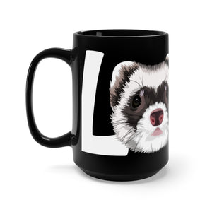 LOVE Ferrets Black Ceramic Mug