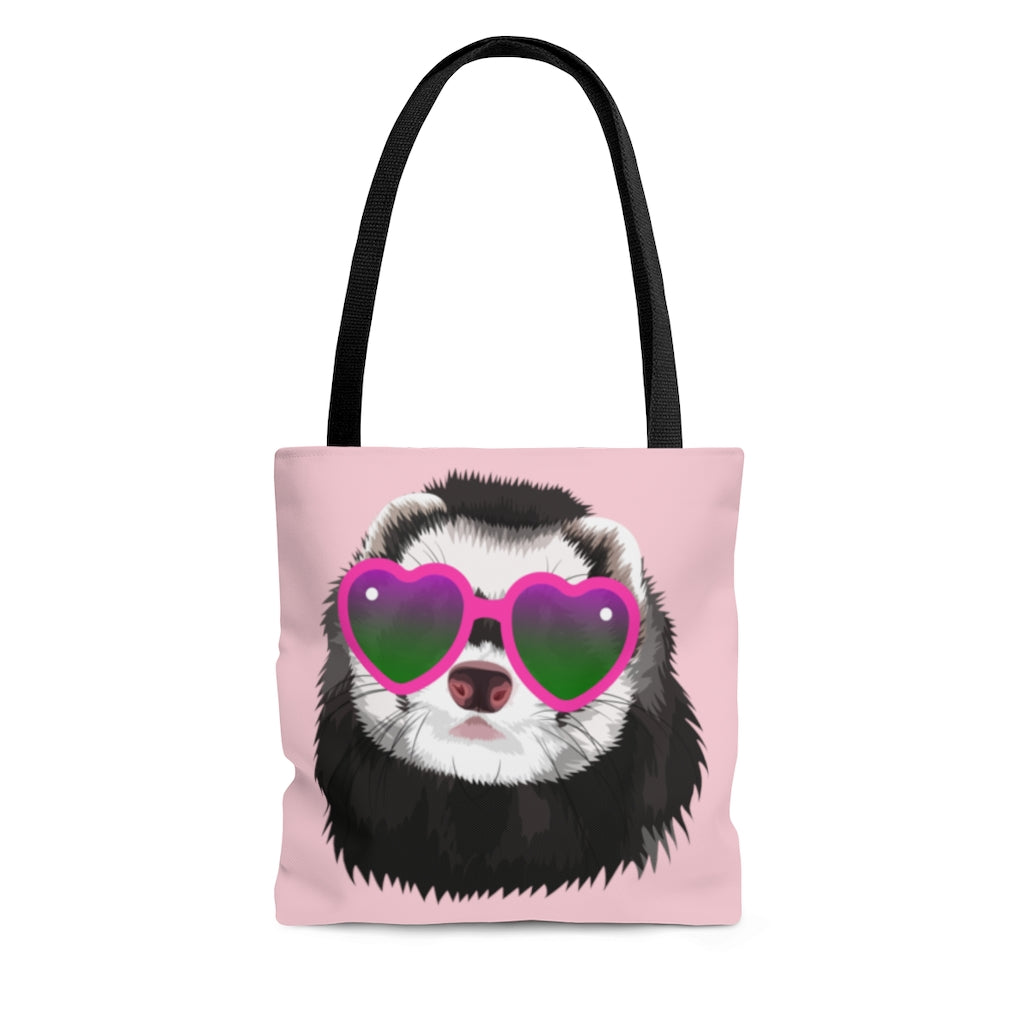 Glamorous Ferret in Sunglasses Pink Tote Bag