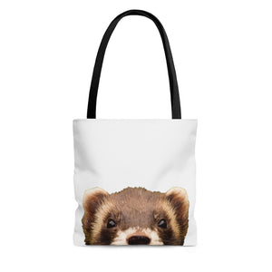 Peeking Ferret White Tote Bag