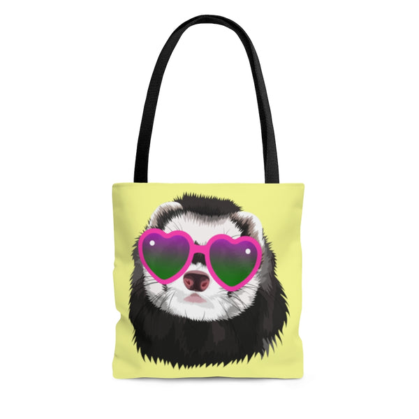 Glamorous Ferret in Sunglasses Yellow Tote Bag