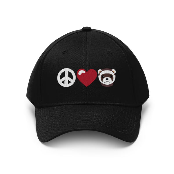 Peace Love Ferrets Baseball Hat