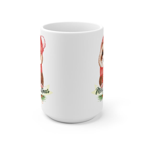 Merry Christmas Ferret White Ceramic Mug
