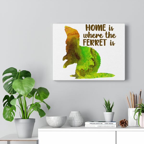 Home Is Where The Ferret Is ~ Green Brown Watercolor Print Canvas Ferret Art