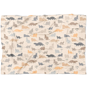Playful Silhouettes Brown Ferrets Fleece Blanket