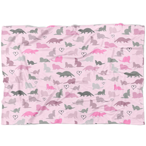 Playful Silhouettes Pink Ferrets Fleece Blanket