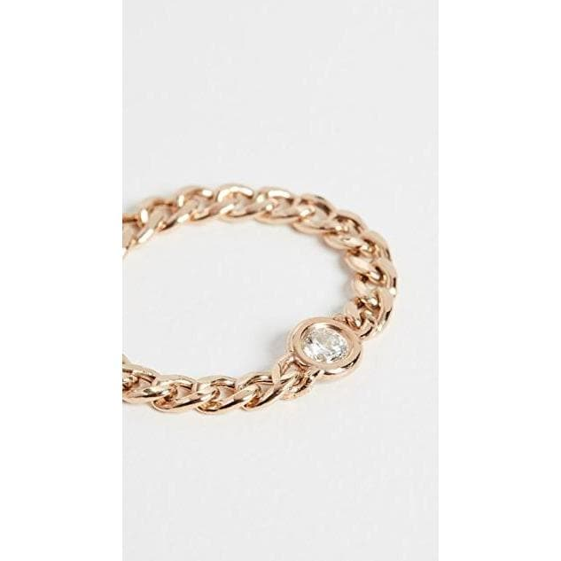 14k Gold Small Curb Chain Ring Women Jewellery Zoe Chicco Yellow 6
