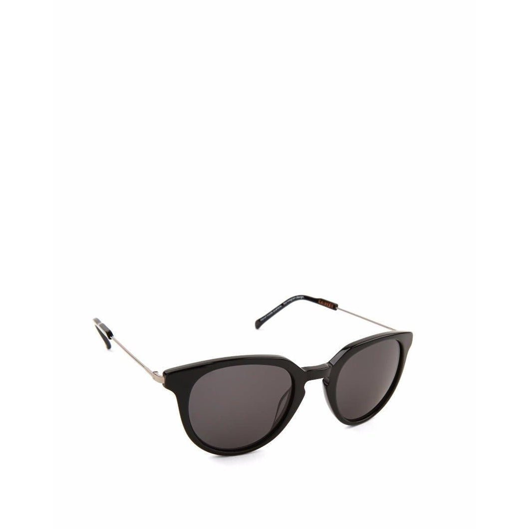 Biblio solid black shiny round frame acetate and gold tone sunglasses ACCESSORIES Kaibosh O/S