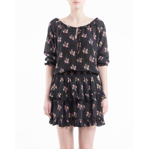 Bohemian floral printed mini dress Women Clothing ByTiMo XS