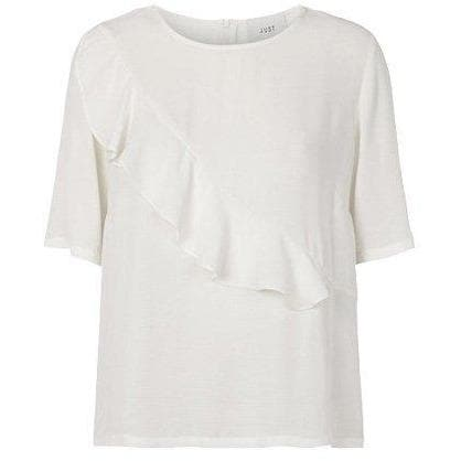 Cecilie ruffled trim t-shirt Women Clothing Just Female XS