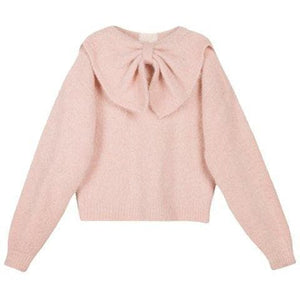 Hairy Knit pink alpaca blend bow sweater Women Clothing ByTiMo XS