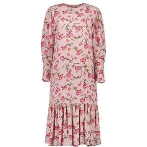 Pink Bouquet floral print pussy-bow ruffled midi dress Women Clothing ByTiMo
