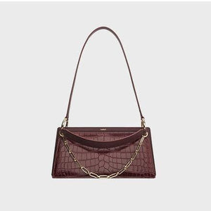 Retro chain embellished croc-effect leather shoulder bag Women bag I AM NOT Red