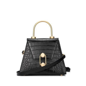 Small croc-effect leather tote bag Women bag I AM NOT Black