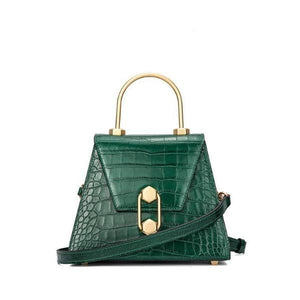 Small croc-effect leather tote bag Women bag I AM NOT Green