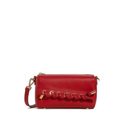 Small stitch embellished leather bag Women bag PECO Red