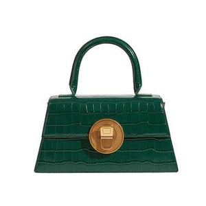 Vintage small croc-effect leather tote bag Women bag PECO Green