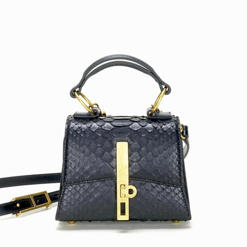 VOILA small python leather bag Women bag Serendippo Black