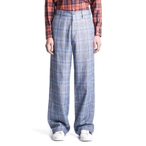 Wind wool checked wide leg trouser Men Clothing Hope 44