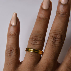 Gold Groove Ring DOUBLETAKE Jewellery
