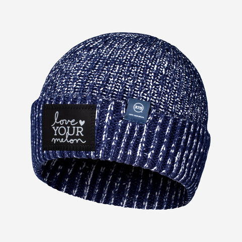 Navy and White Speckled 37.5 Lightweight Cuffed Beanie